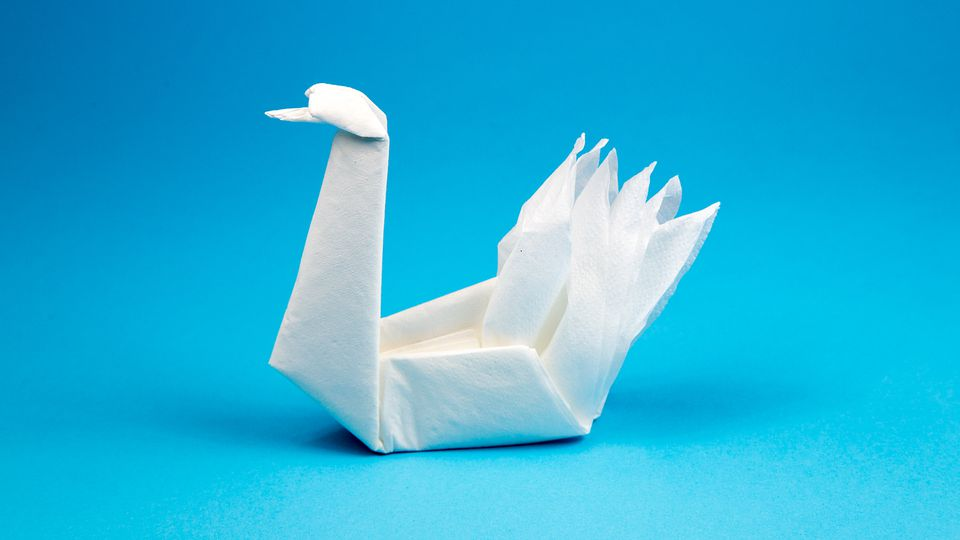 origami napkin swan tutorial
