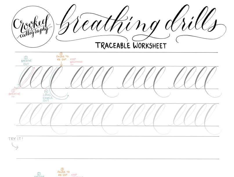 A breathing drills calligraphy worksheet