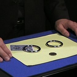 Two rings and playing card