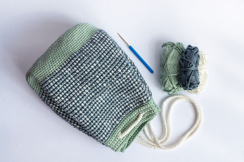 Homemade, Crocheted Mosaic stitch, Bucket Bag Backpack in Pastel Green, White and Gray color with white crocheted rope for closing