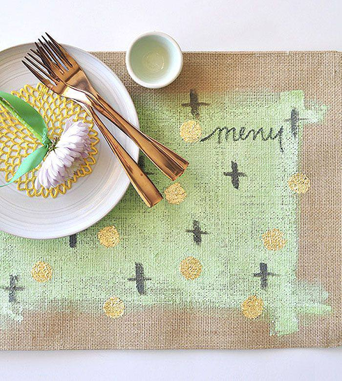 DIY Gold Leaf Burlap Placemat