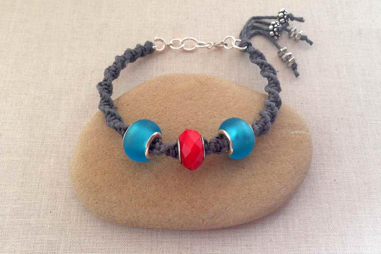 Pandora style macrame bracelet with 3 beads