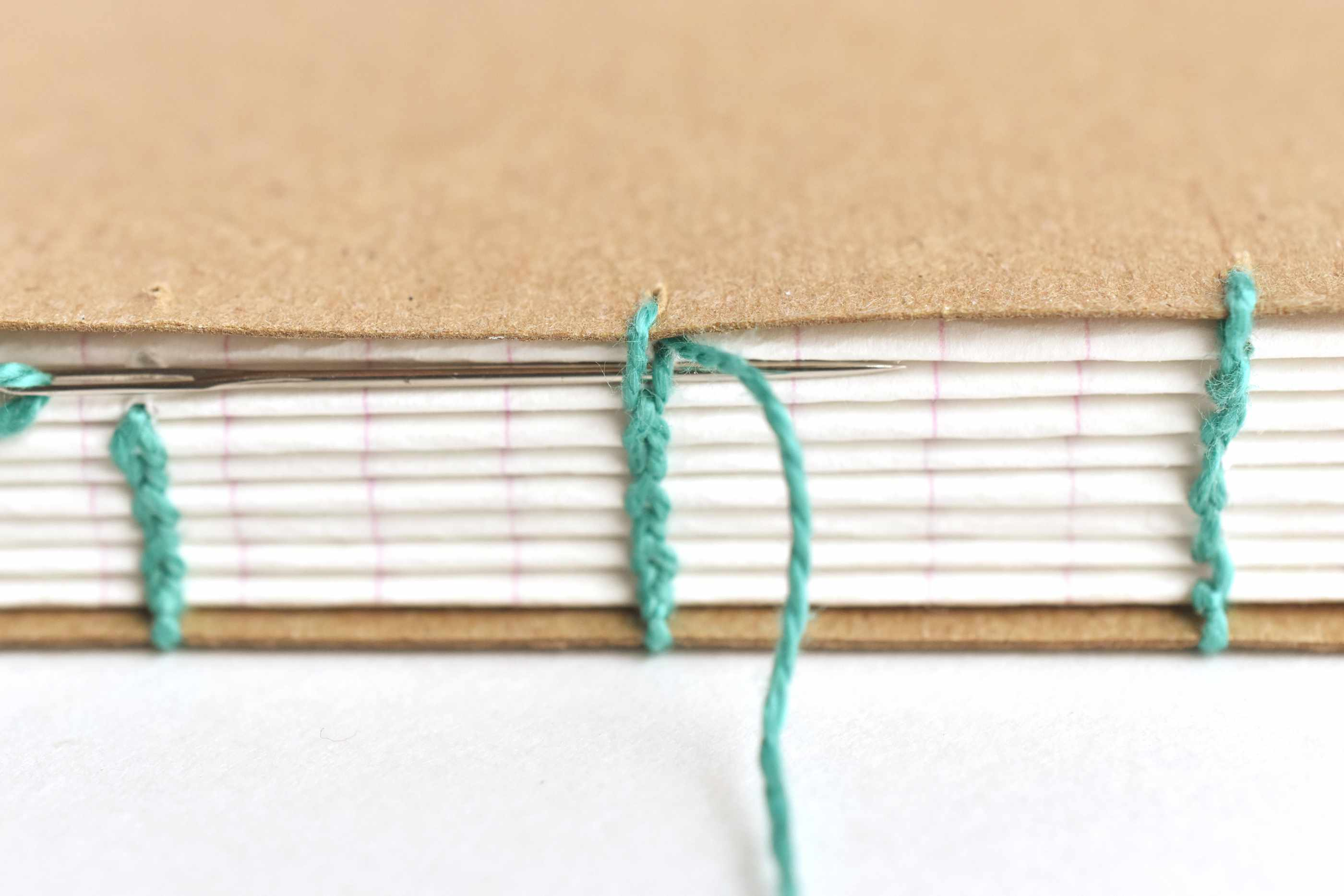 Go Through the Cover and the Previous Coptic Stitch