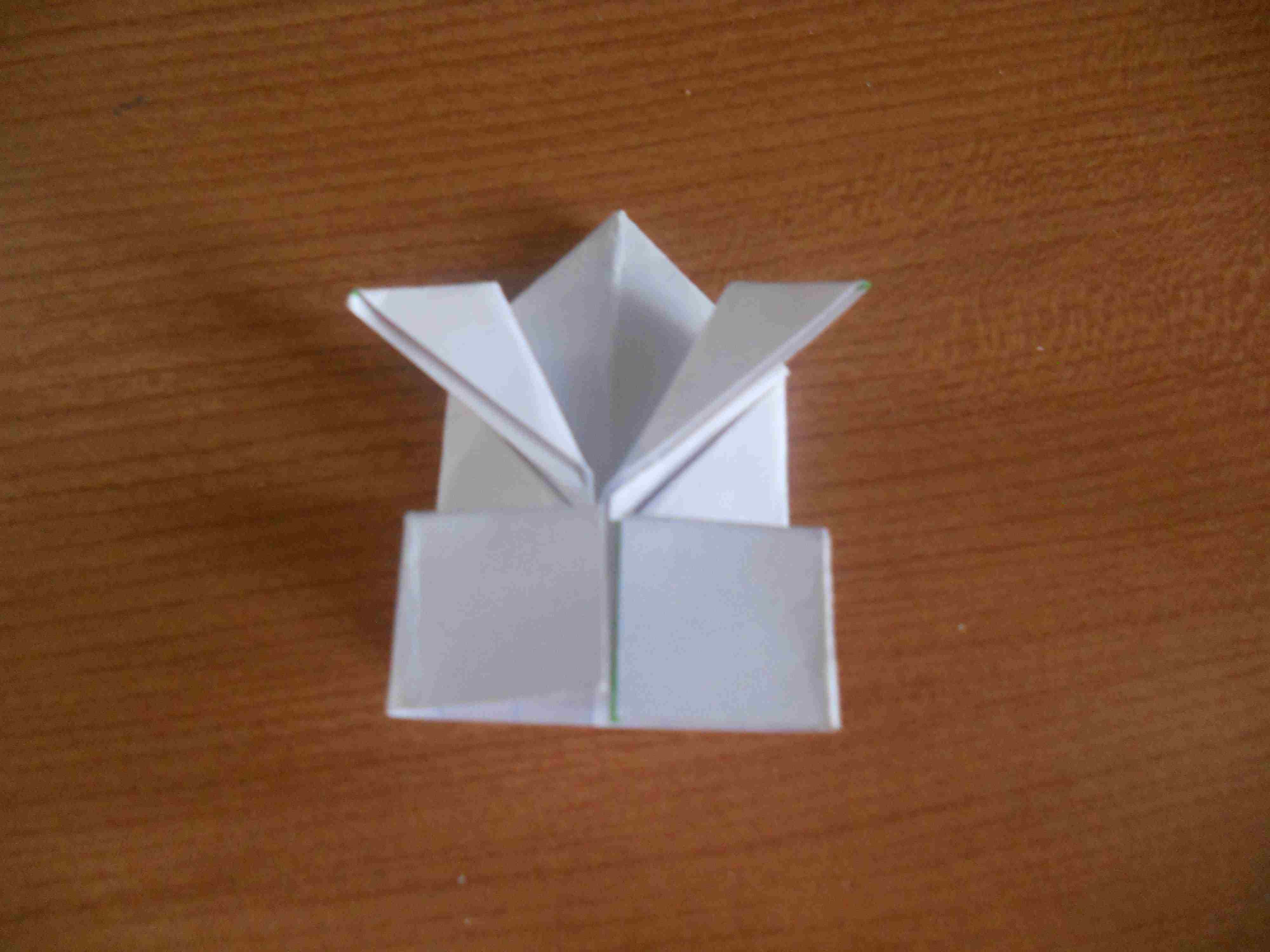 Finished origami jumping frog
