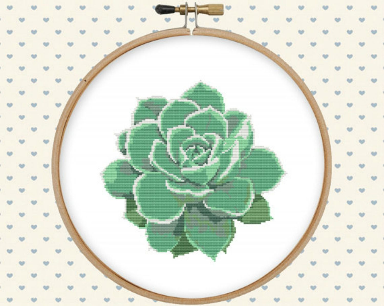 Succulent cross stitch pattern Modern cross stitch Floral cross stitch Cactus cross stitch Xstitch chart PDF Pattern Download