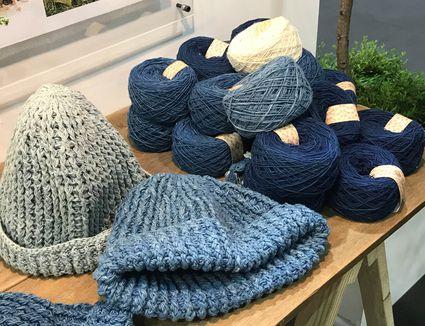 Crocheted hats with yarn