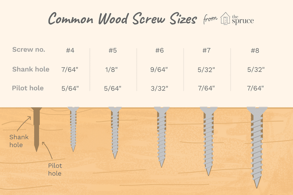 illustration of common wood screw sizes