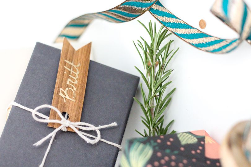 Gift with wooden tag