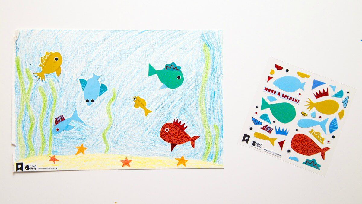Sticker drawing of fish in the sea