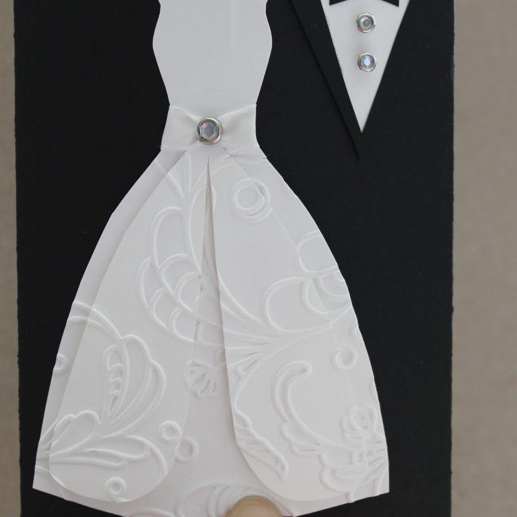 Wedding dress and tuxedo greeting card