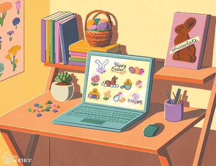 An illustration of Easter art on a laptop screen