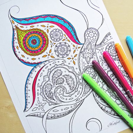 Free Printable Adult Coloring Pages From Hattifant A Butterfly Page For An Partially Colored In