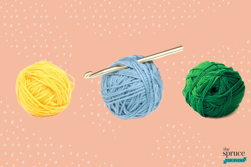 Photo composite of a yellow, blue, and green ball of yarn with a crochet needle in the blue ball of yarn over a peach background.