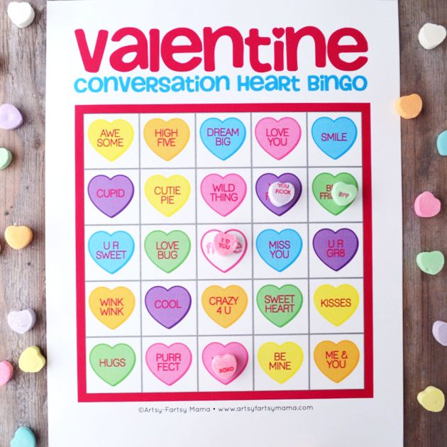 A Colorful Valentine Bingo Card With Conversation Hearts