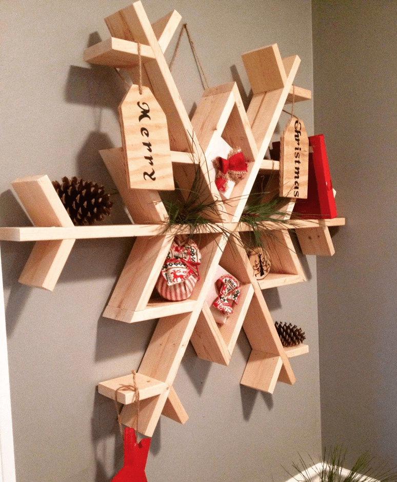 Picture of a wooden snowflake shelf