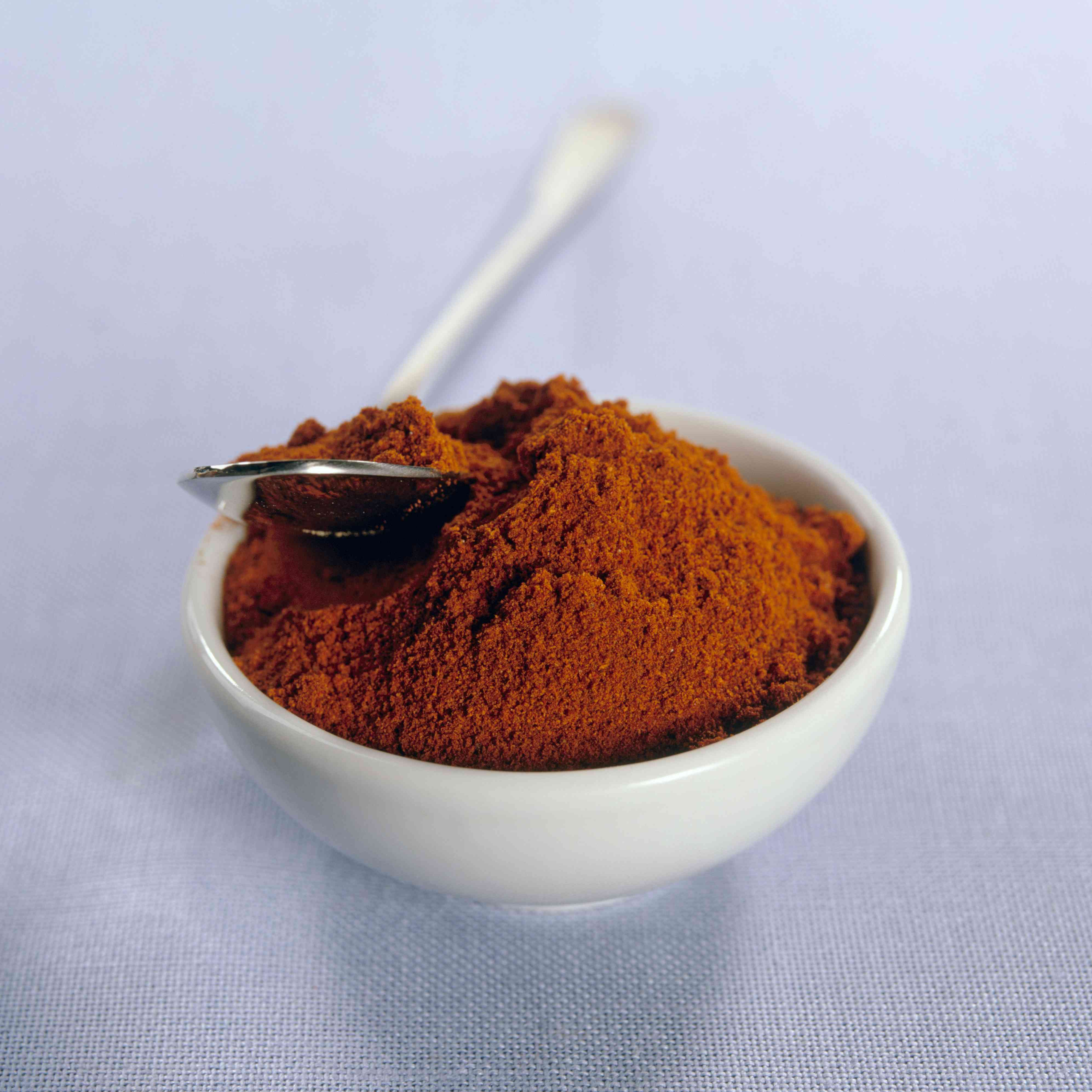 Bowl of paprika, spoon