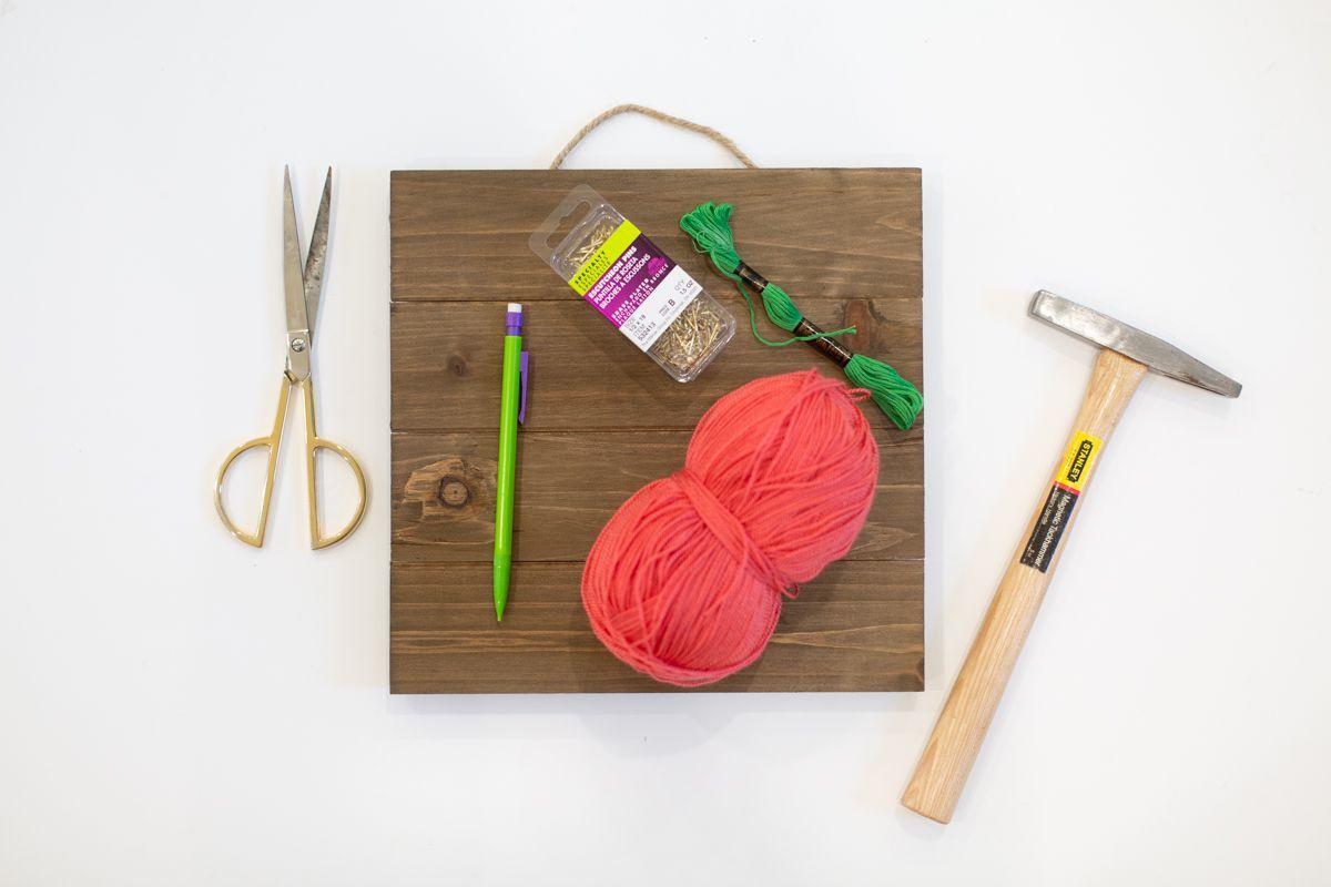 Materials Needed to Create Cute Cactus String Art