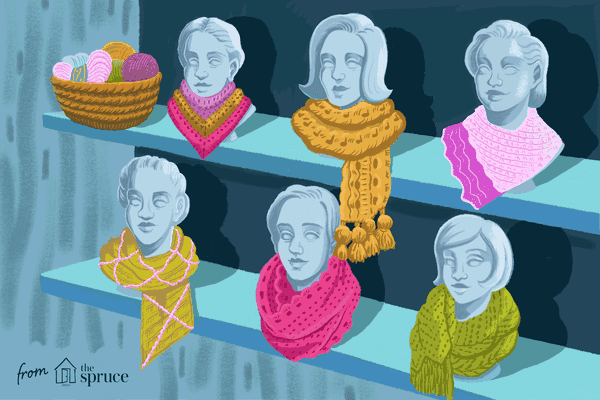 Illustration of mannequin heads with scarves on them
