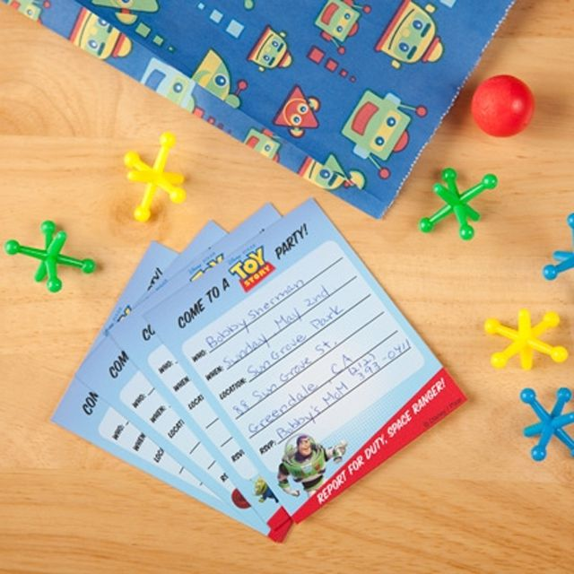 Toy Story Birthday Invites On A Table