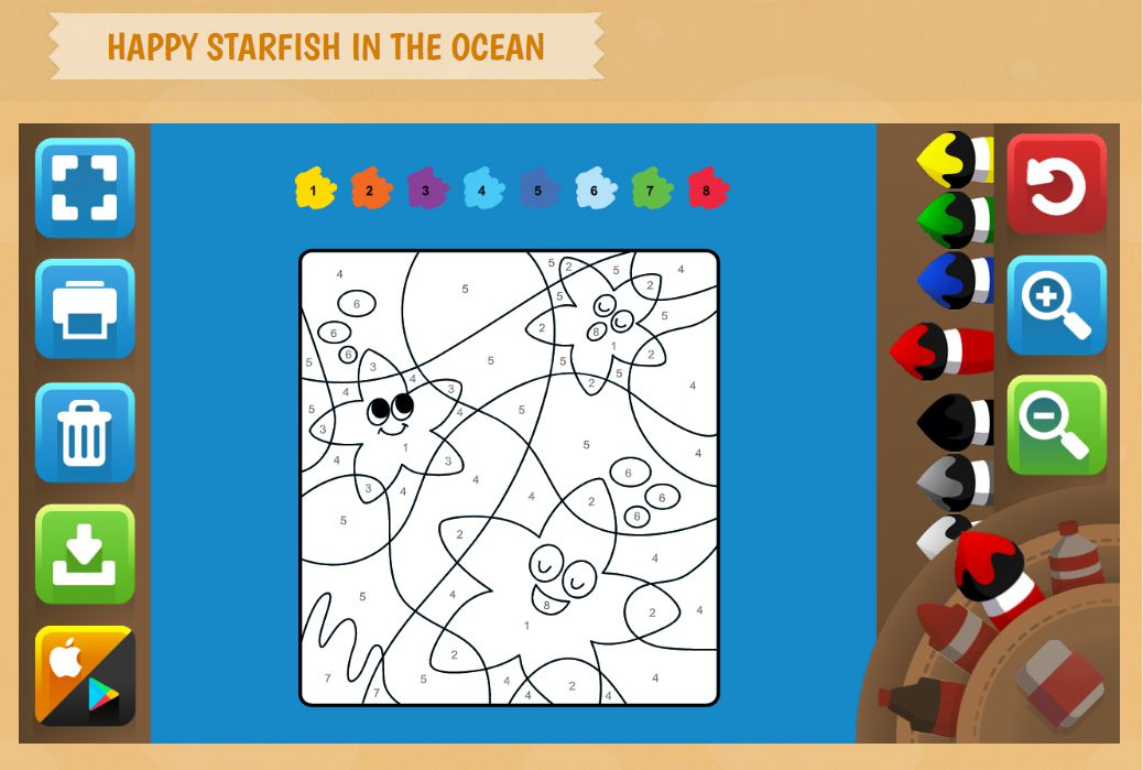 A screenshot of a starfish color by number activity