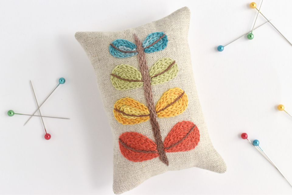Modern Crewel Embroidery Pincushion