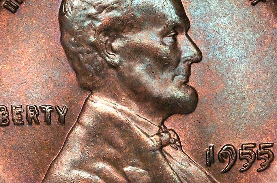close-up of a 1955 Lincoln wheat cent doubled die obverse.