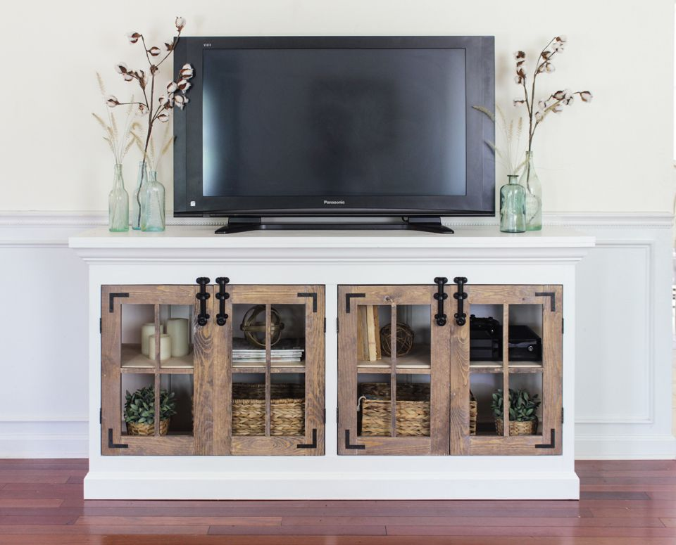 A farmhouse style media cabinet