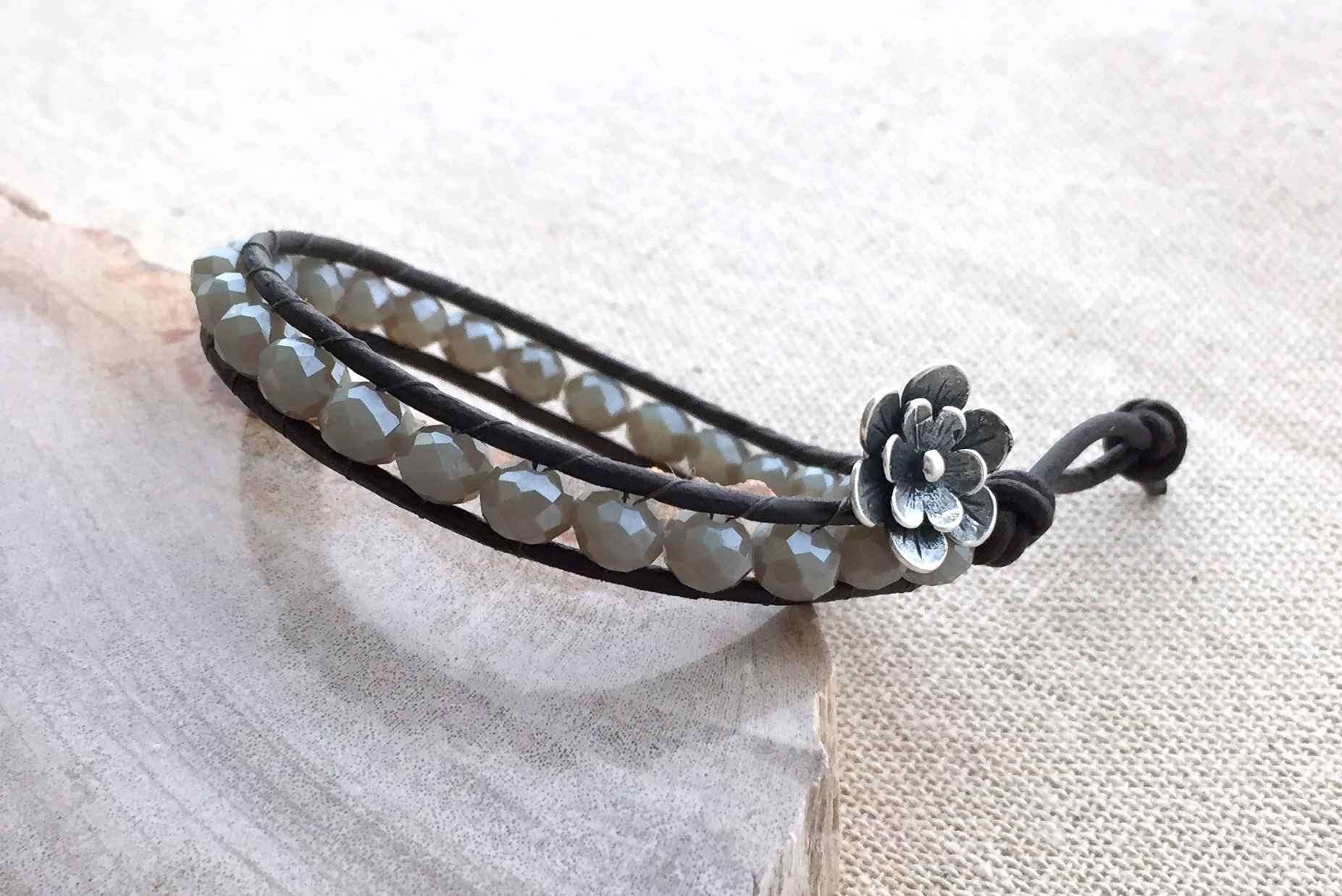 Leather Wrap Bead Bracelet