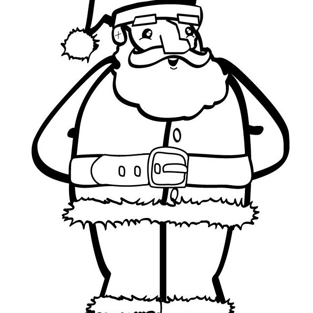 hello kids santa coloring pages santa wearing his santa suit
