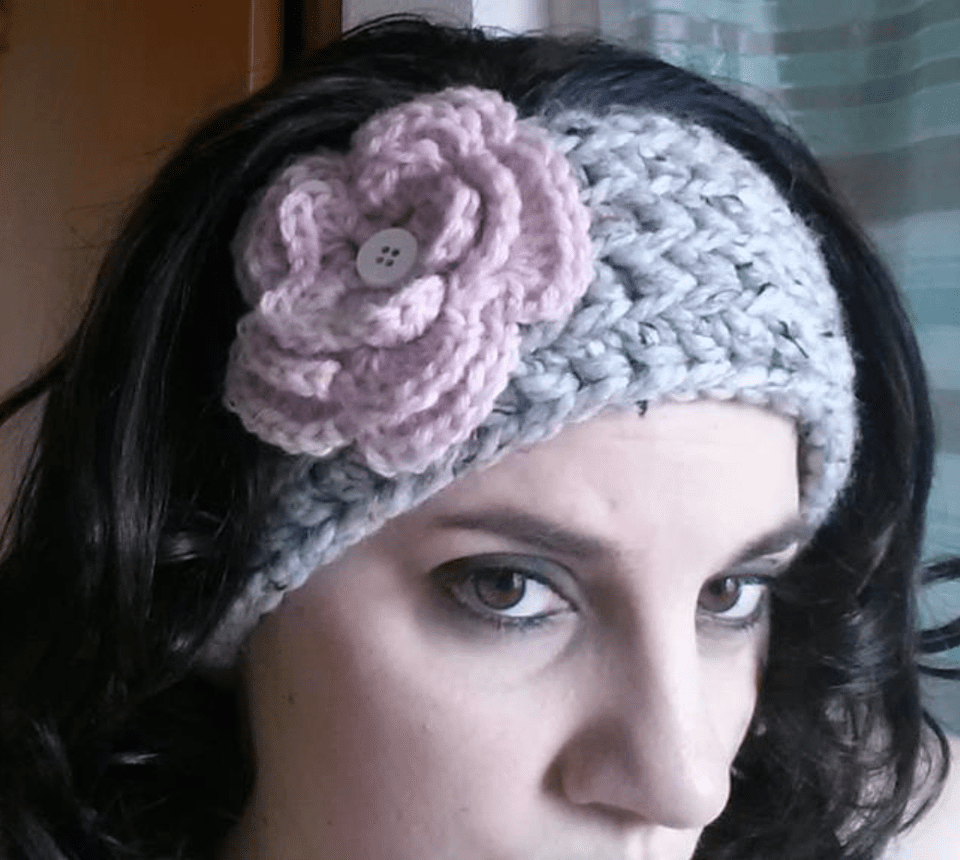 Chunky Crochet Ear Warmer with Flower