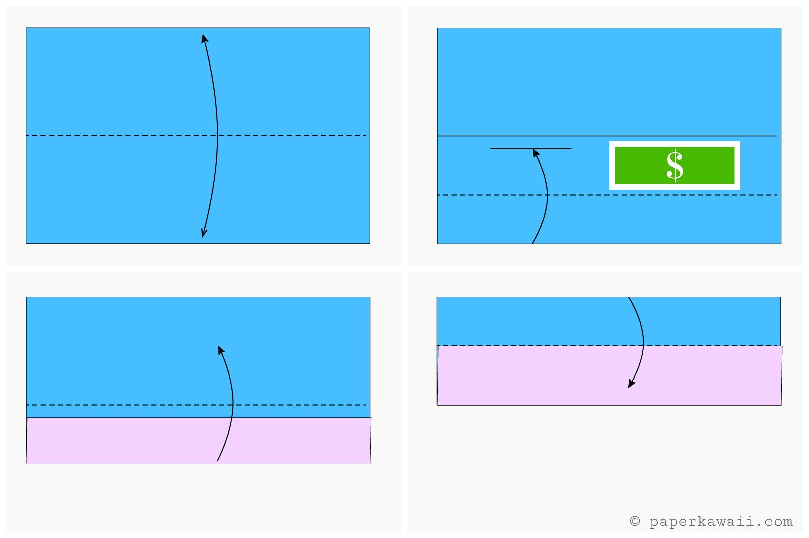 easy origami wallet diagram 2