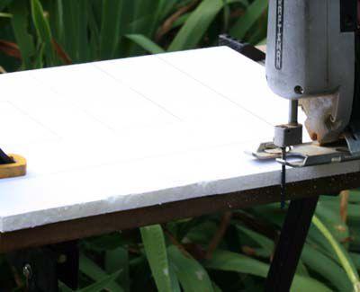 Cutting gatorfoam board with a power jigsaw.