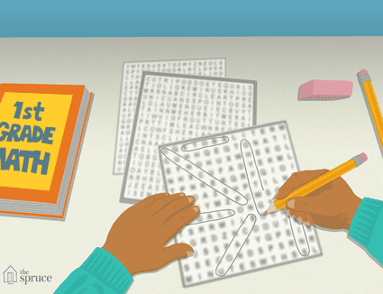 Illustration of a kid doing a word search next to a first grade math book