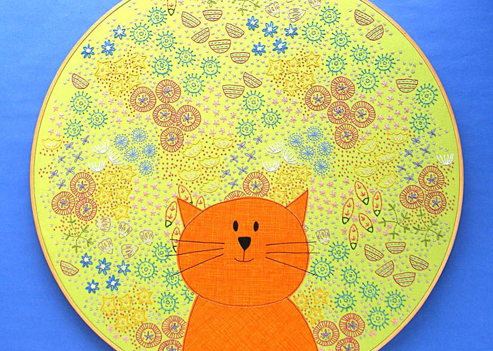Cat Among Flowers Embroidery Project