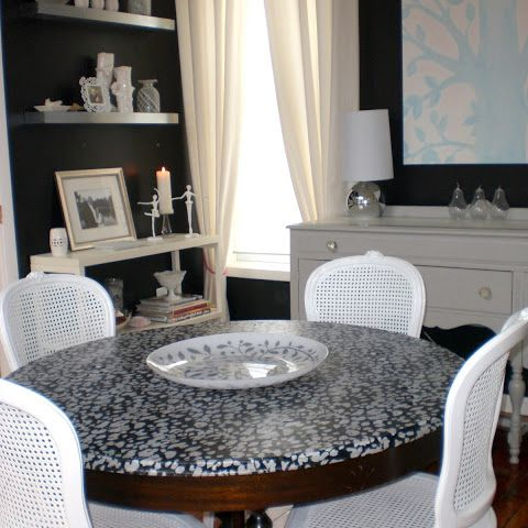 black and white decoupaged table