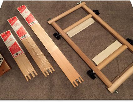 Stretcher bar and frames for needlepoint crafts.