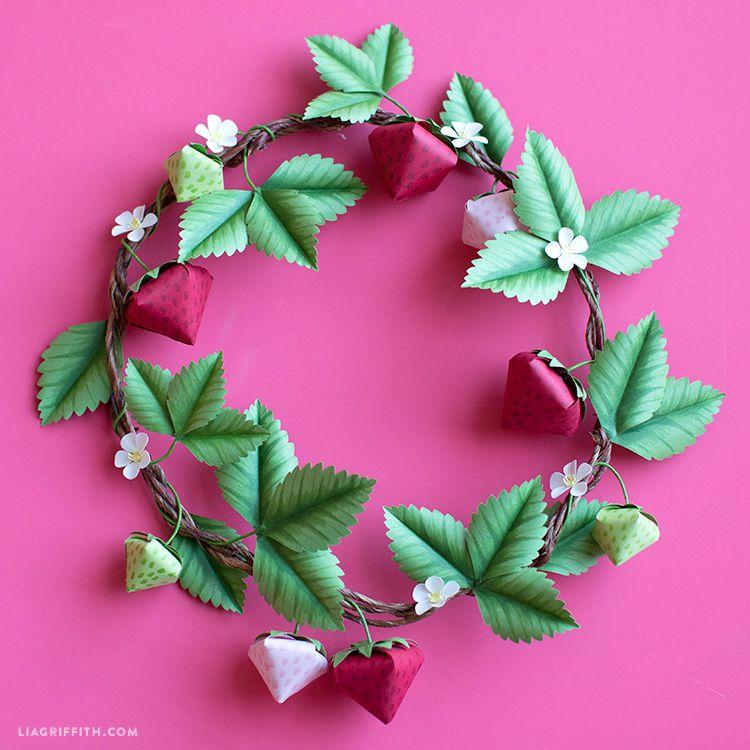 a paper strawberry wreath