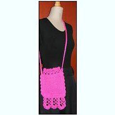 Crocheted Loop and Bar Lace Drawstring Bag by Sandi Marshall