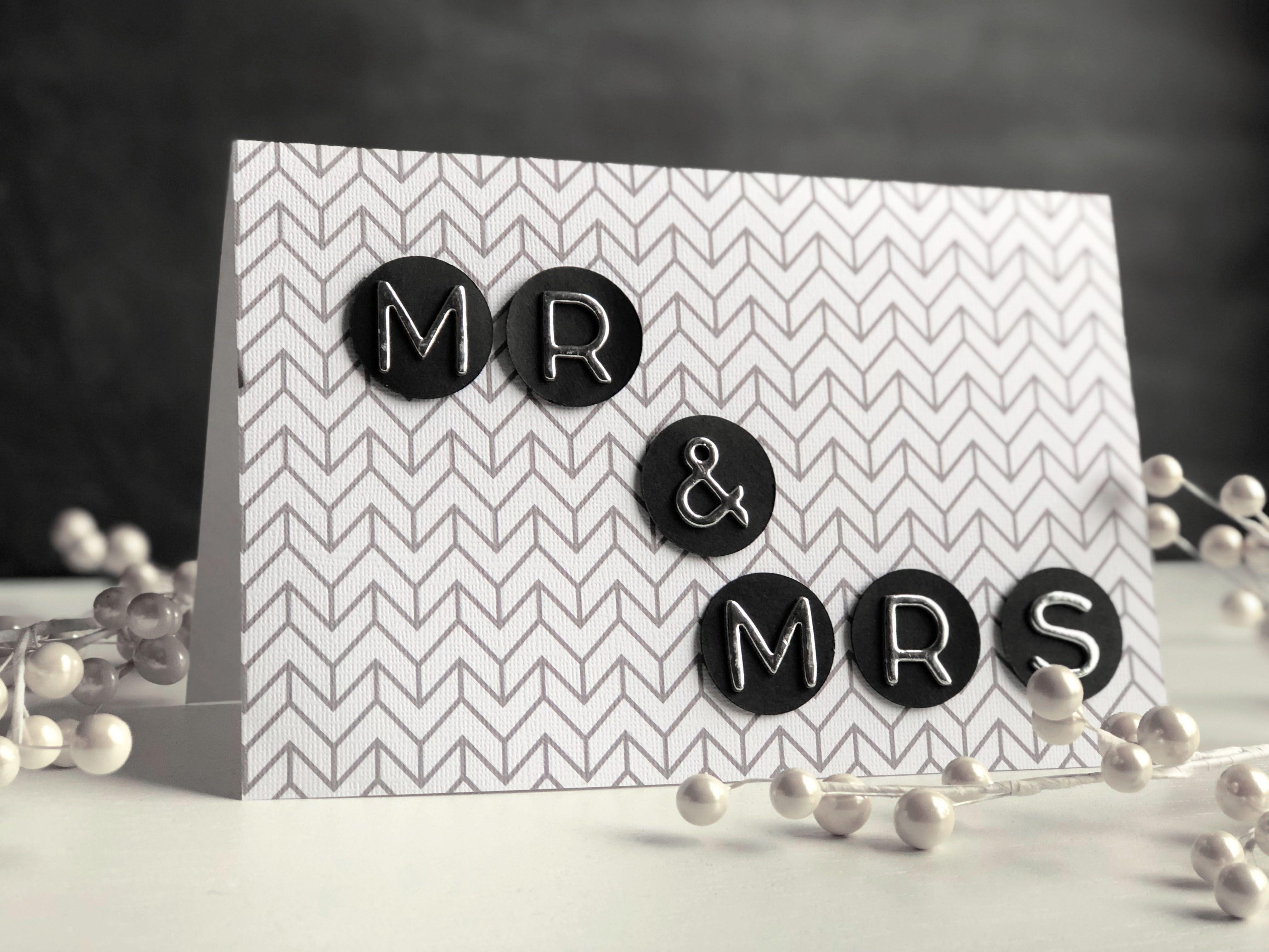 Black, gray, and white DIY wedding card