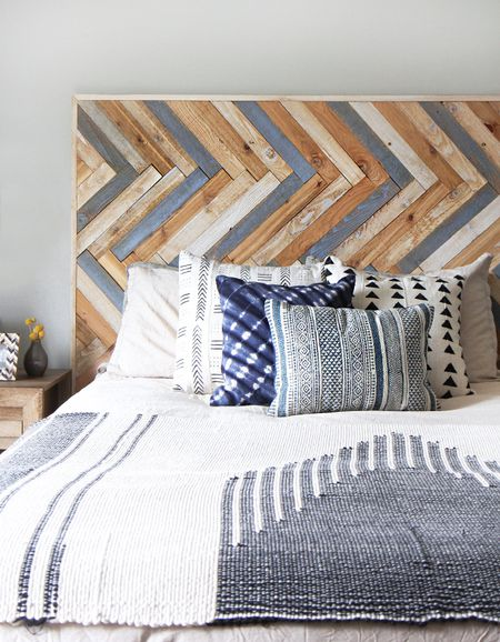 A Herringbone Wood Diy Headboard