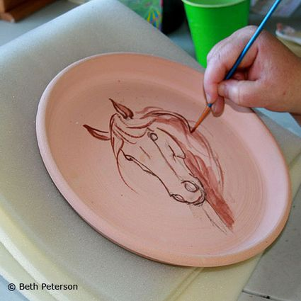 Ceramic stains can also be used as washes, not just for lines.