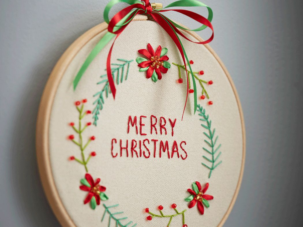 merry christmas ribbon embroidery pattern - Embroidered Christmas Ornaments