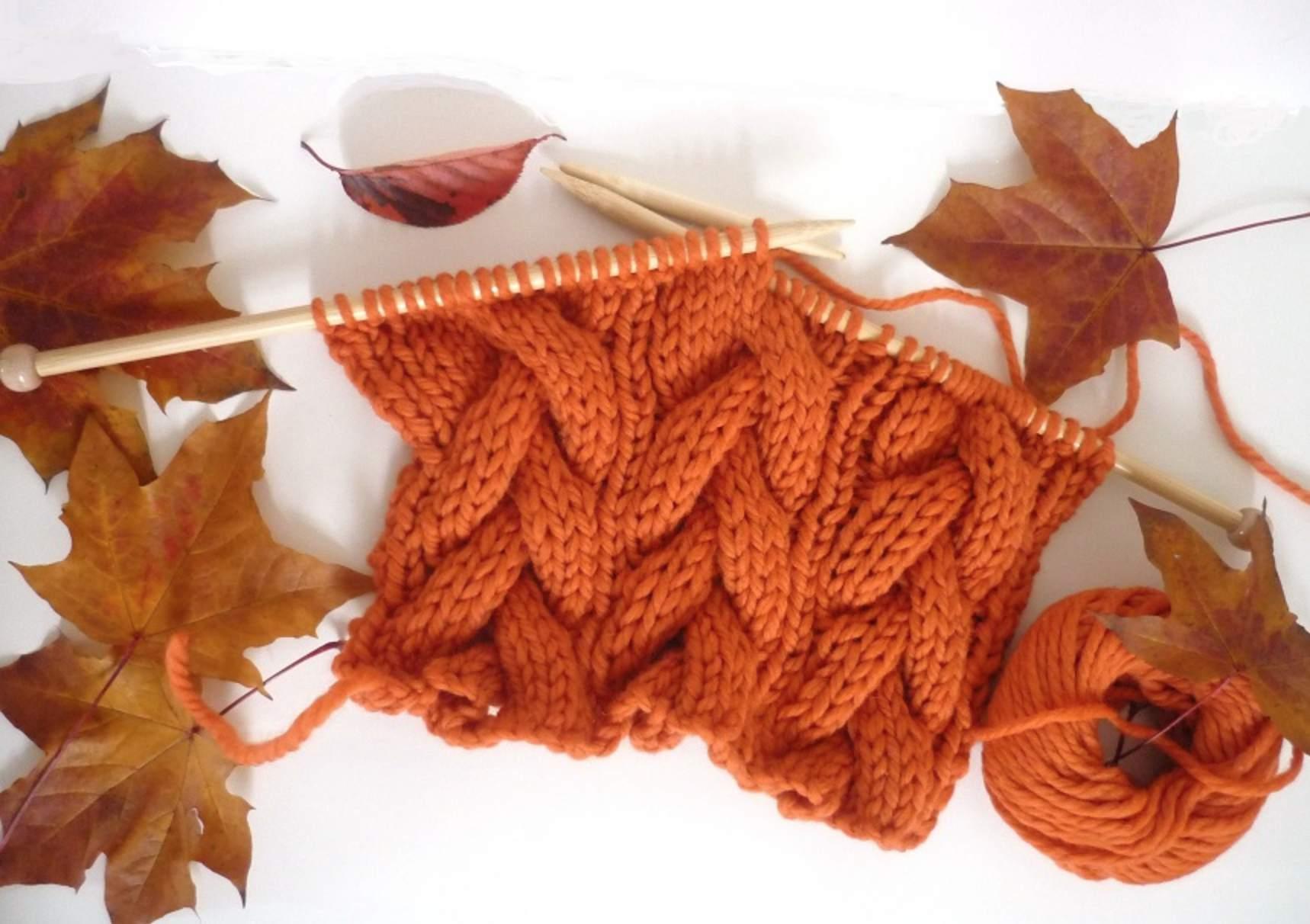 Pumpkin Orange Cable Knit Scarf Pattern