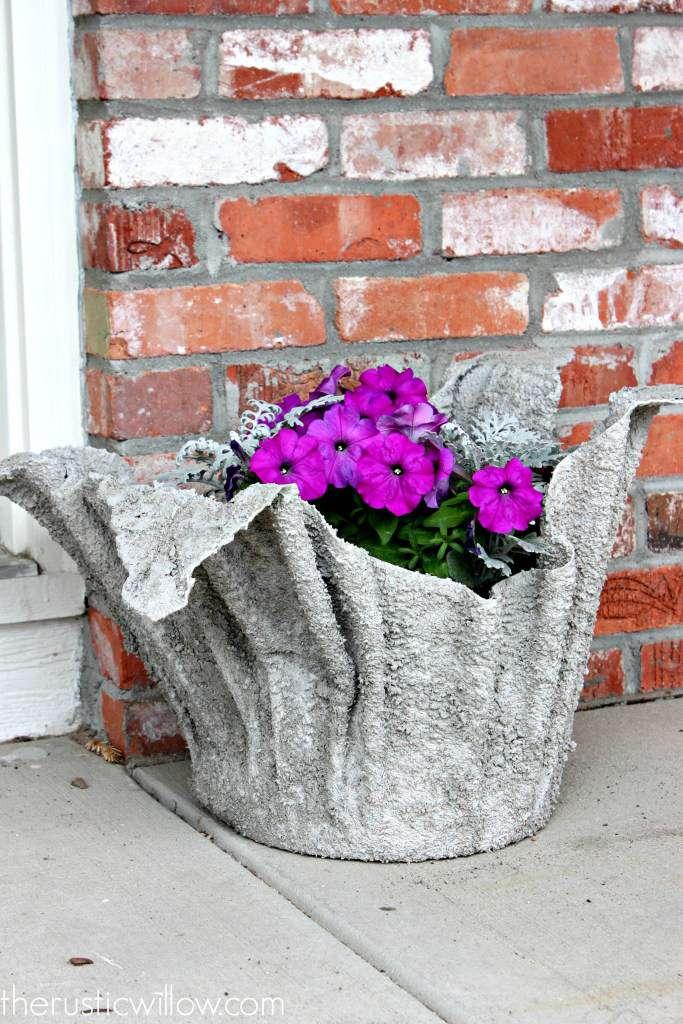 concrete planter made with towel