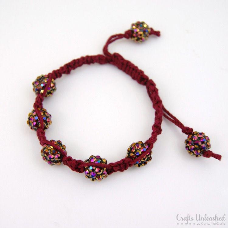 add beads to a macrame bracelet