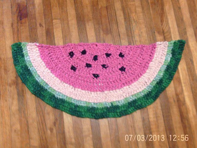 Watermelon Crochet Rag Rug