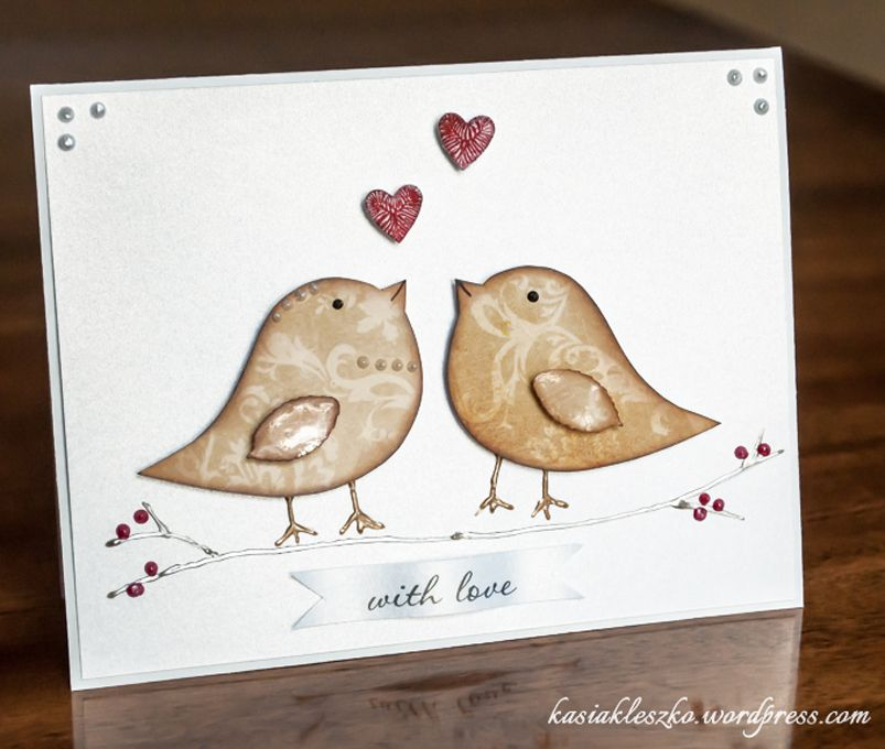 two birds in love wedding cards