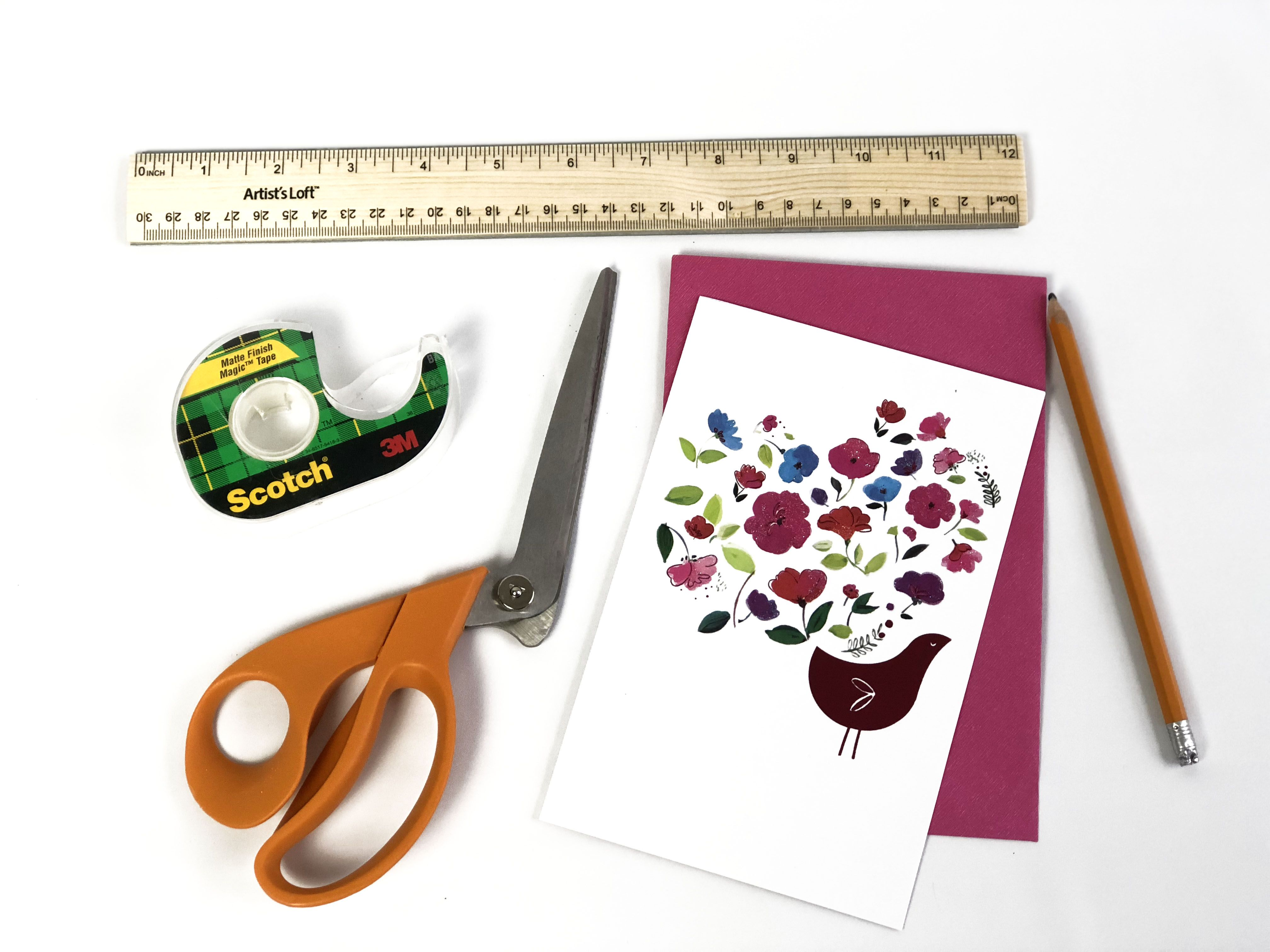 materials needed to make a box from a greeting card