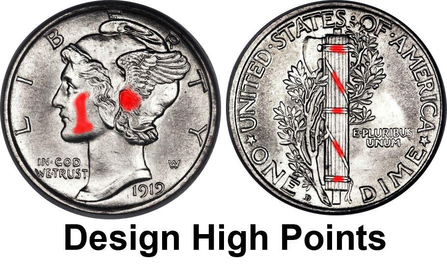 Mercury Dime Design High Points