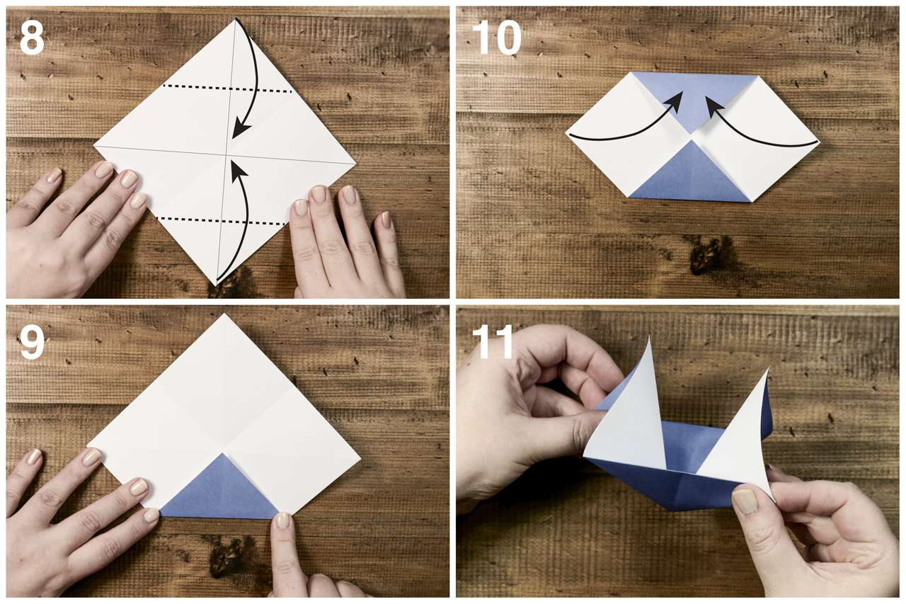 Unfold the paper, and refold to make the sails for the origami sailboat.